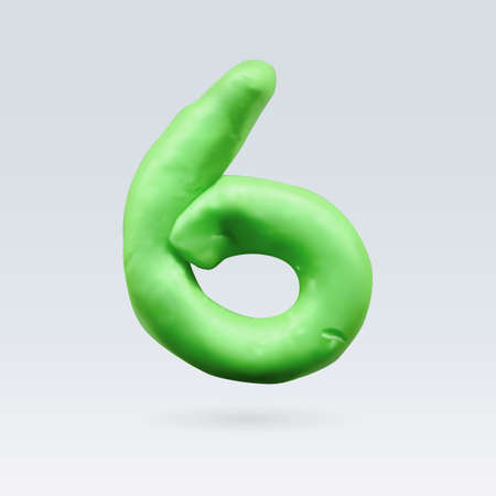 Number Six Green Color Isolated on Background Illustration