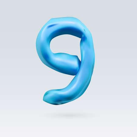 number nine: Number Nine Blue Color Isolated on Background Illustration