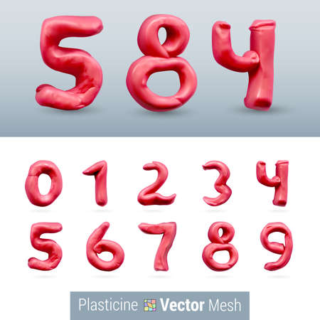 order: Numeral Red Color Isolated on Background Set Illustration