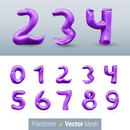 numeral: Numeral Purple Color Isolated on Background Set