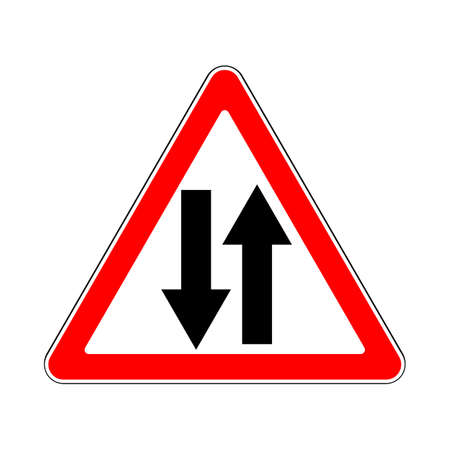 two lane highway: Road Sign Warning Two Way Traffic on White Background
