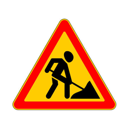 road work: Road sign warning road work  on white background