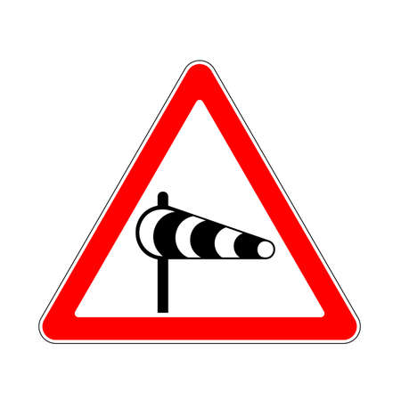 Road Sign Warning Crosswind on White Background