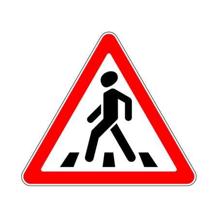 paso de cebra: Paso de peatones por carretera señal de advertencia sobre fondo blanco Vectores