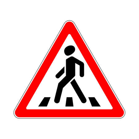 paso de cebra: Road Sign Warning Crosswalk on White Background