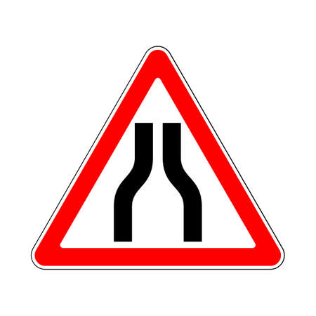 narrows: Road Sign Warning Road Narrows on White Background Illustration
