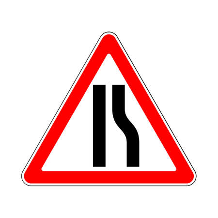 Road Sign Warning Restriction Right Side Road on White Background