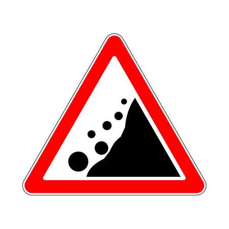 treacherous: Road Sign Warning Avalanche Rockfall Landslides on White Background