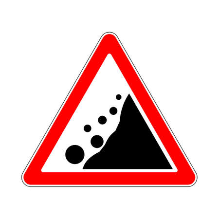 Road Sign Warning Avalanche Rockfall Landslides on White Background