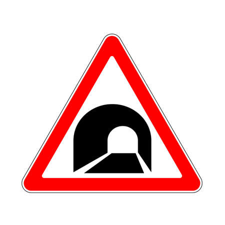 mountain pass: Road Sign Warning Tunnel on White Background