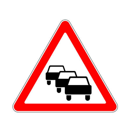 dangers: Road Sign Warning Traffic Congestion on White Background