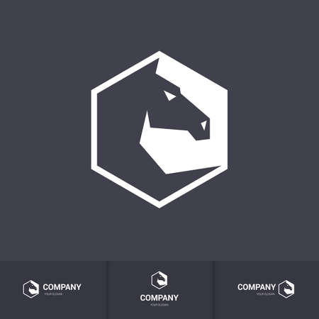head for: Stylized Dark Horse Head for Mascot Template on Dark Background
