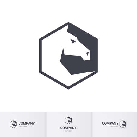 head for: Stylized White Horse Head for Template