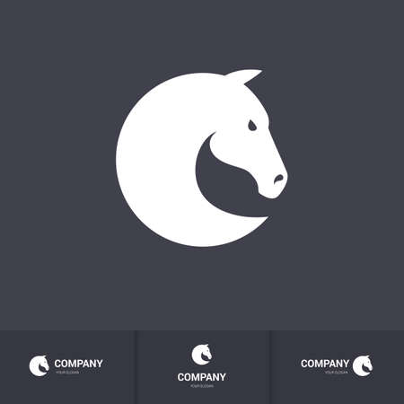 head for: Simple Horse Head for Mascot Template on Dark Background