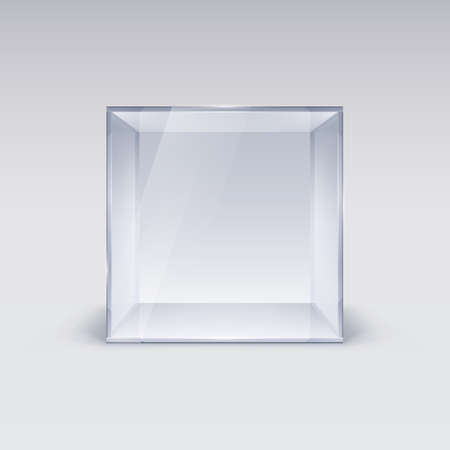 display: Empty Glass Showcase in Cube Form on White Background Illustration