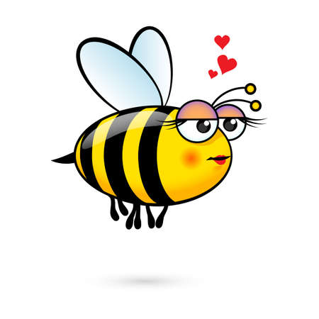 Illustration of a Friendly Cute Female Bee in Love 矢量图像