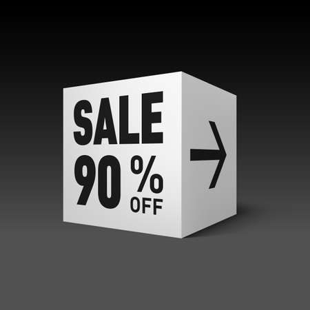 ninety: Cube Banner Template for Holiday Sale Event. Ninety Percent off Discount