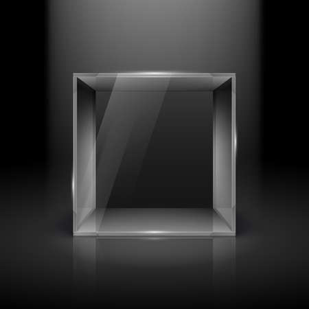 boutique display: Empty Glass Showcase in Cube Form with Spot Light for Presentation on Black