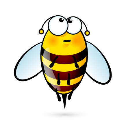 Illustration of Tired a Cute Bee on White 矢量图像
