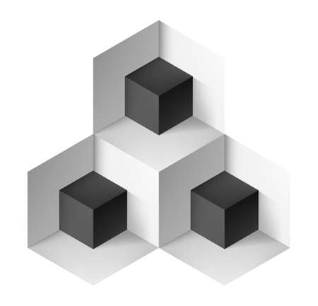 Abstract geometric object with black cubes for design Иллюстрация