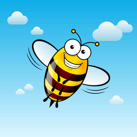 Illustration of a Friendly Cute Bee with Smile in Sky