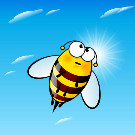 Illustration of Tired a Cute Bee in Sky 矢量图像