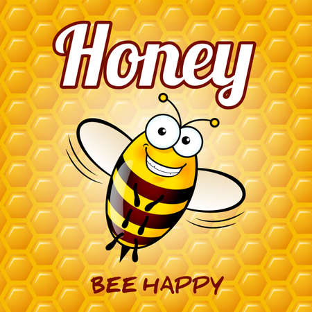 busy person: Illustration of a Friendly Cute Bee with Smile on Honey Background
