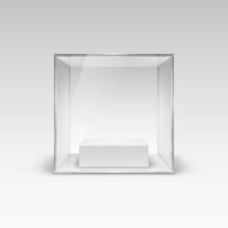 Glass Showcase in Cube Form for Presentation