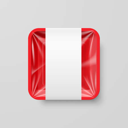 Empty Red Plastic Food Square Container with Label on Gray Background Vector Illustration