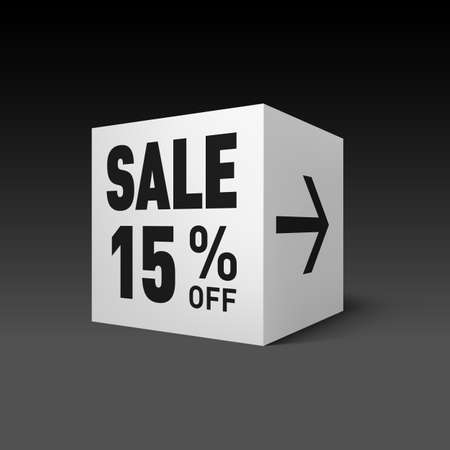 fifteen: Cube Banner Template for Holiday Sale Event. Fifteen Percent off Discount