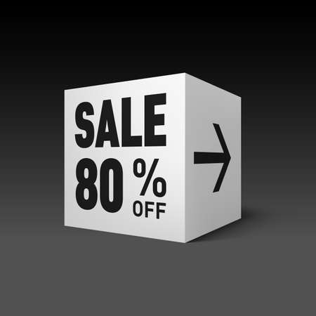 eighty: Cube Banner Template for Holiday Sale Event. Eighty Percent off Discount