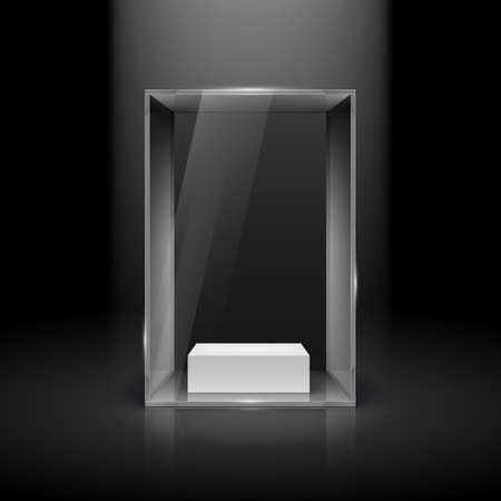 boutique display: Glass Showcase with Spot Light for Presentation on Black