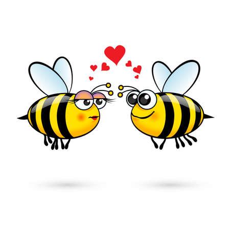 abeja reina: Abejas de la historieta lindo en el amor. Ilustración sobre fondo blanco Vectores