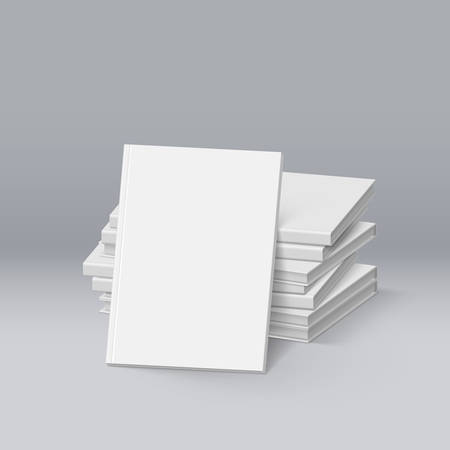 magazine stack: Stack of Blank White Books. Mockup Template for Design Illustration