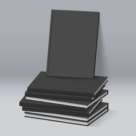 magazine stack: Stack of Blank Black Books. Business Mockup Template Illustration