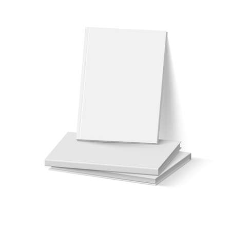 Stack of Gray Books on White. Business Mockup Template