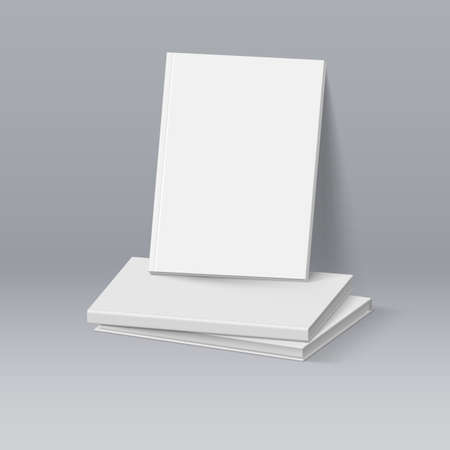 magazine stack: Stack of Blank White Books. Business Mockup Template Illustration