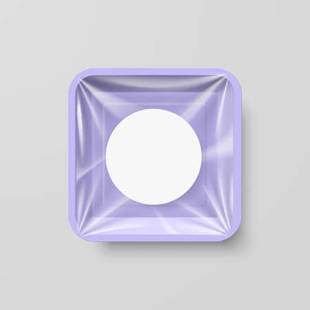 Empty Purple Plastic Food Square Container with Round Label Illustration