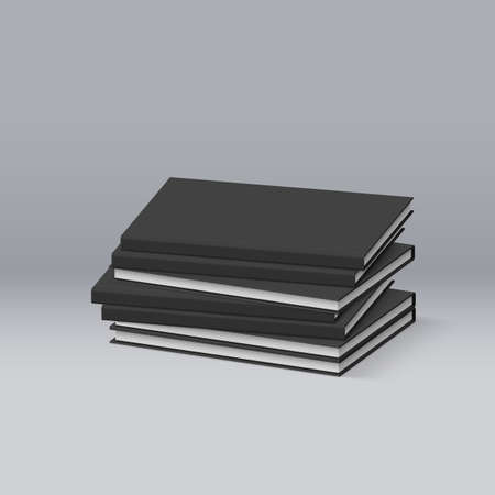 magazine stack: Stack of Blank Black Books. Presentation of Your Branding and Identity Design Illustration