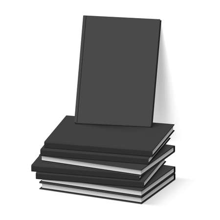 Stack of Blank Black Books on White. Business Mockup Template