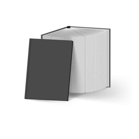 Stack of Black Books on White. Mockup Template
