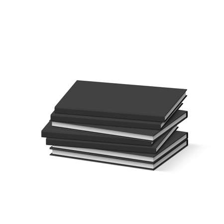 magazine stack: Stack of Blank Black Books on White. Presentation of Your Branding and Identity Design