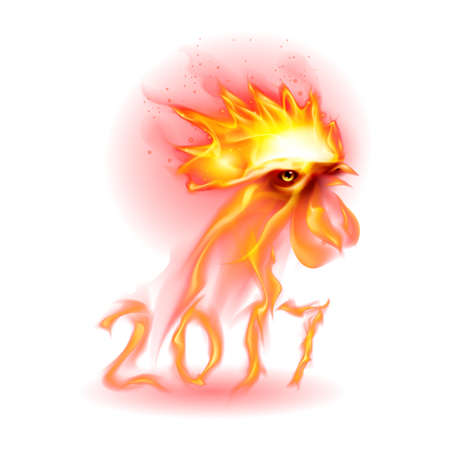 Silhouette of Head Red rooster. Fire Rooster Symbolr. Christmas Card New Years design on White