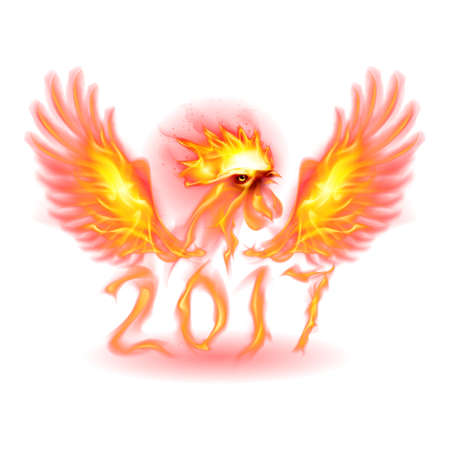 Silhouette of Red Rooster. Fire Rooster Symbol of the New Year by Chinese Calendar on White Illustration