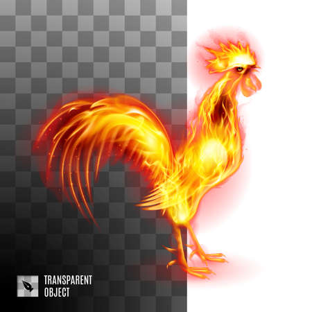two thousand: Fiery Golden Rooster On Transparent Background Symbol Chinese New Two Thousand Seventeen