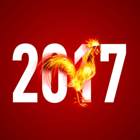 Red Cock. Fire Rooster Symbol of the New Year by Chinese Calendar. Christmas Card New Years design on Red Illustration