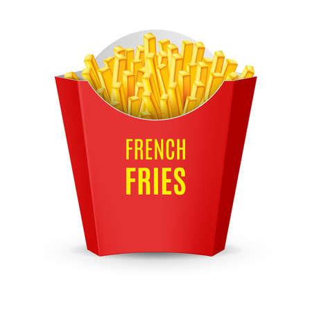 Big Red Pack with French Fries. Illustration of Fast Food Icon on White 向量圖像