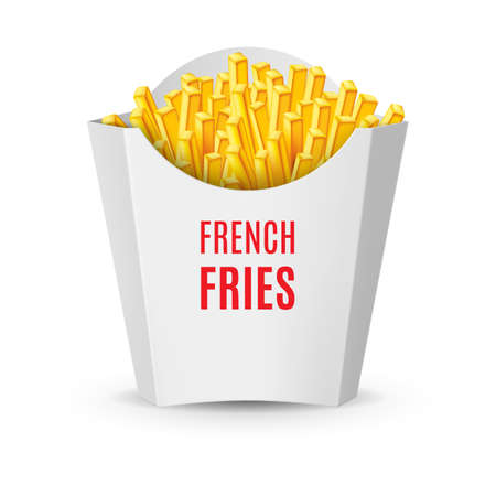 fry: Big White Pack with French Fries. Illustration of Fast Food Icon for Design
