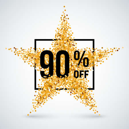 Golden Star and Frame with Discount Ninety Percent