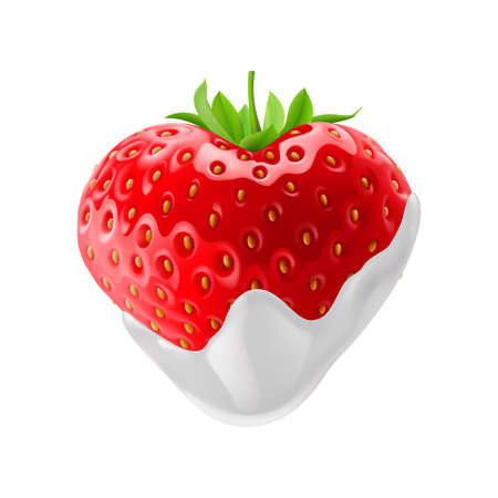 strawberry chocolate: Strawberry with Chocolate Dipping on White Background Illustration